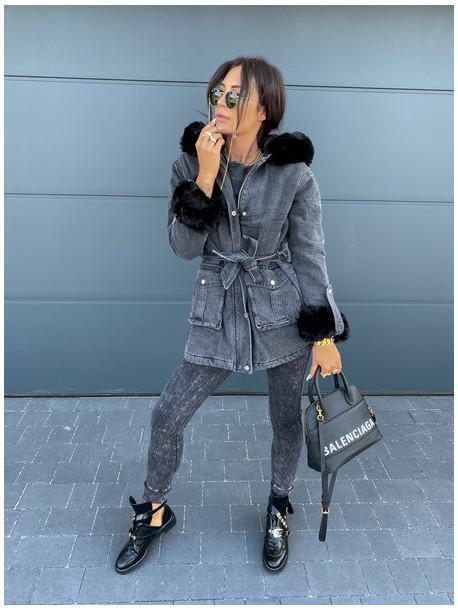Kurtka parka jeans czarna z czarnym  futerkiem Melania 17