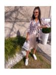 Sukienka midi wiązana w kropki beige Mona 54 - photo #0
