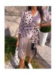 Sukienka midi wiązana w kropki beige Mona 54 - photo #2