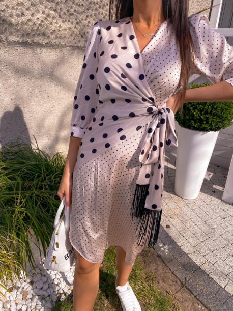 Sukienka midi wiązana w kropki beige Mona 54