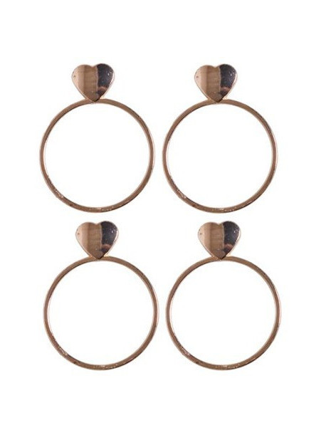 Komplet serwetników obrączkowych złote serca Golds 155