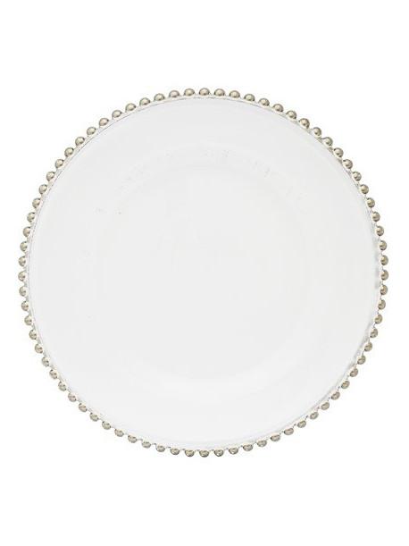 Podstawka szklana pod talerz biało-srebrna Visteria 155