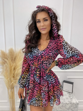 Sukienka mini na długi rękaw z falbankami i paskiem w panterę multicolor Sofi 93