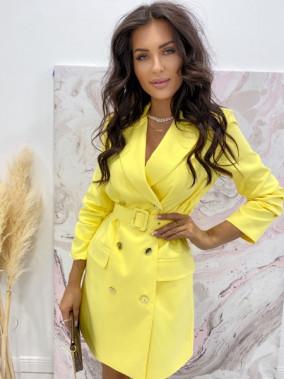 Sukienka a'la marynarka z paskiem żółta Cora 38
