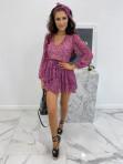 Sukienka mini na długi rękaw z falbankami i paskiem różowa  Sofi 93 - photo #0