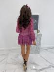 Sukienka mini na długi rękaw z falbankami i paskiem różowa  Sofi 93 - photo #4