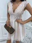 Sukienka koronkowa + tiul biało - beżowa Adele 01 - photo #2