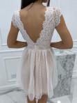 Sukienka koronkowa + tiul biało - beżowa Adele 01 - photo #4