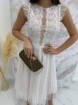 Sukienka midi koronkowa biała Elena 17 - photo #3