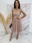 Sukienka midi koronkowa beżowa Elena 17 - photo #0