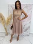 Sukienka midi koronkowa beżowa Elena 17 - photo #4