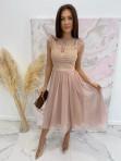 Sukienka midi koronkowa beżowa Elena 17 - photo #1