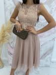 Sukienka midi koronkowa beżowa Elena 17 - photo #2
