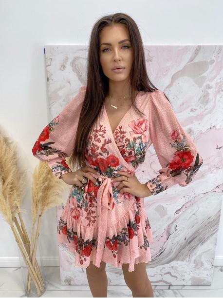 Sukienka w róże i kropeczki różowa Angelia 93