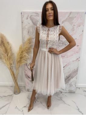 Sukienka midi koronkowa biała Elena 17