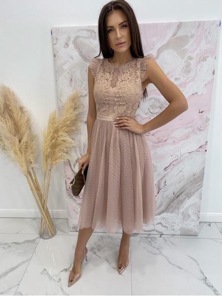 Sukienka midi koronkowa beżowa Elena 17