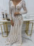 Sukienka na długi rękaw z cekinami beżowo - biała Noe 09 - photo #4