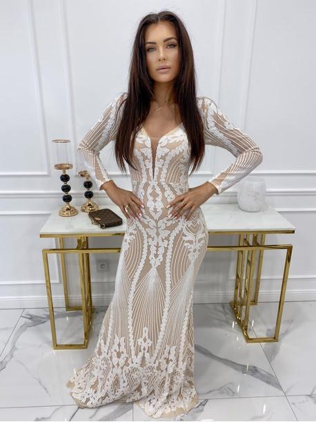 Sukienka na długi rękaw z cekinami beżowo - biała Noe 09