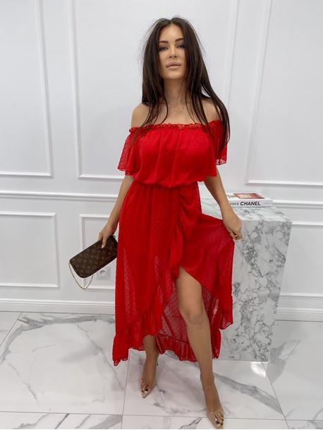 Sukienka midi hiszpanka w drobne kropki czerwona Saila 17