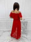 Sukienka midi hiszpanka w drobne kropki czerwona Saila 17 - photo #4
