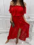 Sukienka midi hiszpanka w drobne kropki czerwona Saila 17 - photo #3
