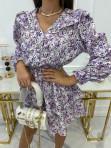 Sukienka mini zapinana na guziki z falbanką przy ramionach biała z fioletem Honita 02 - photo #4