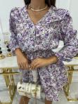 Sukienka mini zapinana na guziki z falbanką przy ramionach biała z fioletem Honita 02 - photo #5