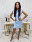 Sukienka mini dopasowana z poduszkami na ramionach niebieska Ilona 09 - photo #0