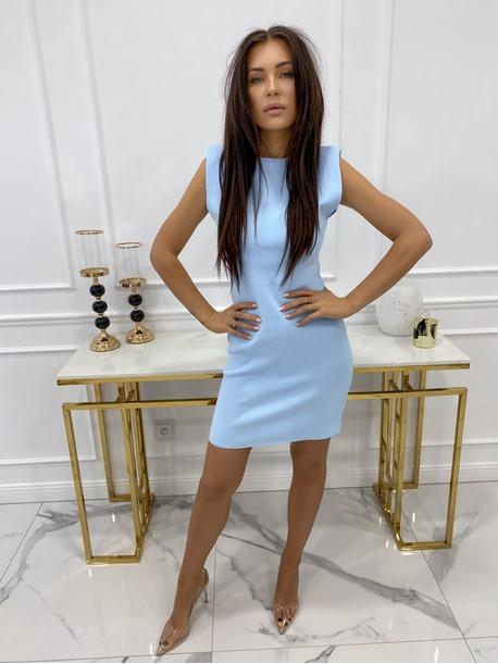 Sukienka mini dopasowana z poduszkami na ramionach niebieska Ilona 09