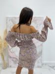 Komplet top+spódnica w kwiatki fioletowo-żółty  Arni 47 - photo #3
