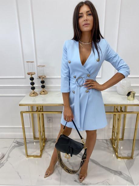 Sukienka a'la marynarka z paskiem niebieska Elwira 54