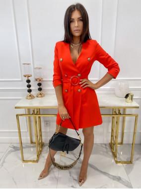 Sukienka a'la marynarka z paskiem czerwona Elwira 54