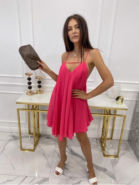 Sukienka mini na ramiączkach z dekoltem V fuksja Ginny 09