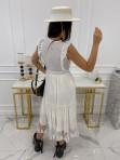 Sukienka midi ażurowa biała Collen 09 - photo #3