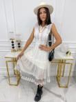 Sukienka midi ażurowa biała Collen 09 - photo #0
