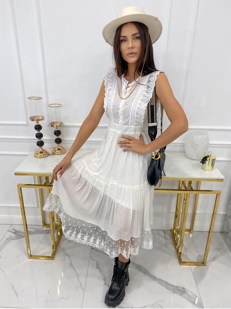 Sukienka midi ażurowa biała Collen 09