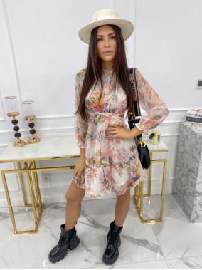 Sukienka mini w kwiaty z wycięciem kremowa Zadia 09