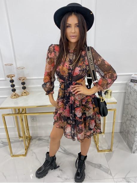 Sukienka mini w kwiaty z wycięciem czarna Zadia 09