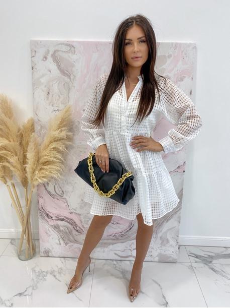 Sukienka w kratkę 3D z halką biała Sammie 17