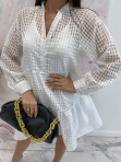 Sukienka w kratkę 3D z halką biała Sammie 17 - photo #3