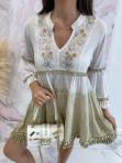 Sukienka a'la tunika z cekinami biało kremowa Lima 139 - photo #1
