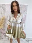 Sukienka a'la tunika z cekinami biało kremowa Lima 139 - photo #4