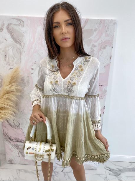 Sukienka a'la tunika z cekinami biało kremowa Lima 139
