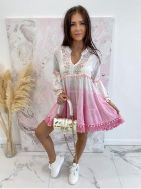 Sukienka a'la tunika z cekinami różowa Lima 139