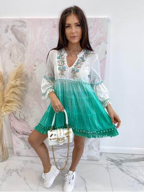 Sukienka a'la tunika z cekinami zielona Lima 139