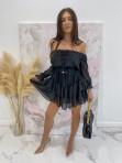 Sukienka mini z falbanami czarna Olga 17 - photo #1