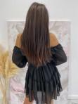 Sukienka mini z falbanami czarna Olga 17 - photo #4