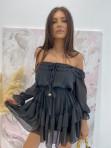 Sukienka mini z falbanami czarna Olga 17 - photo #6