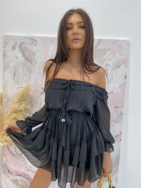 Sukienka mini z falbanami czarna Olga 17