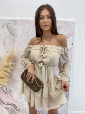 Sukienka mini z falbanami beżowa Olga 17